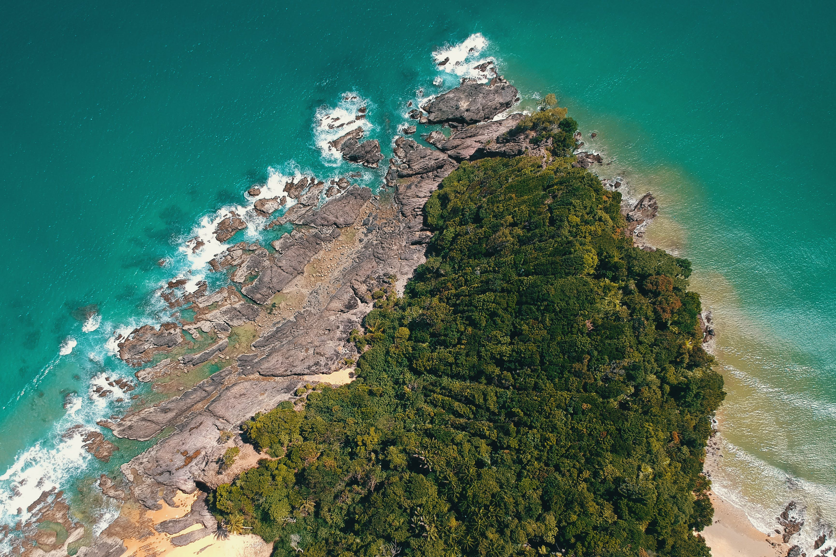 Aerial Photography of Island and Sea