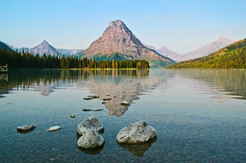 Scenic View of River and Mountain