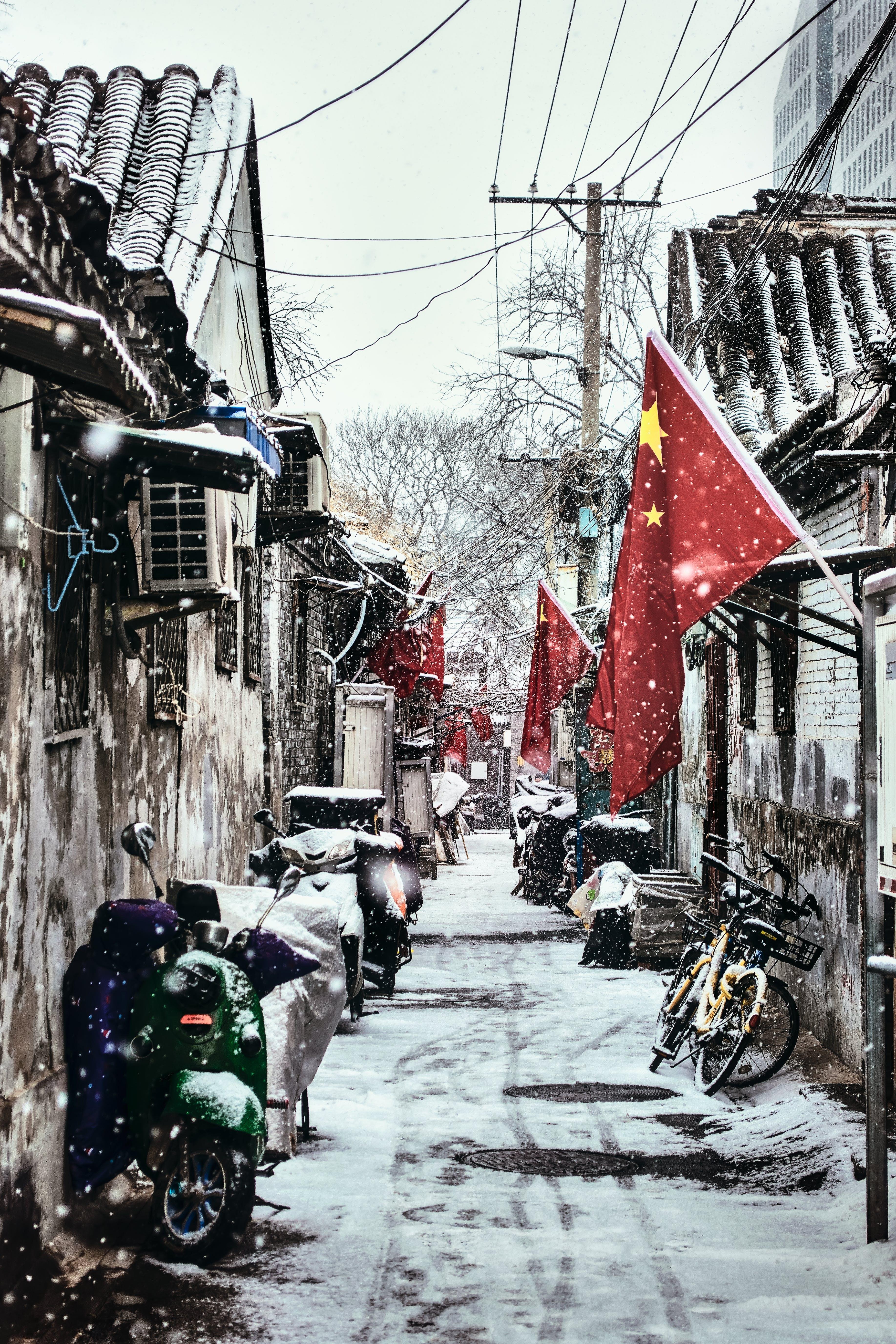 Kostenloses Stock Foto zu 下雪, 中国, 北京, 智 桥 胡同