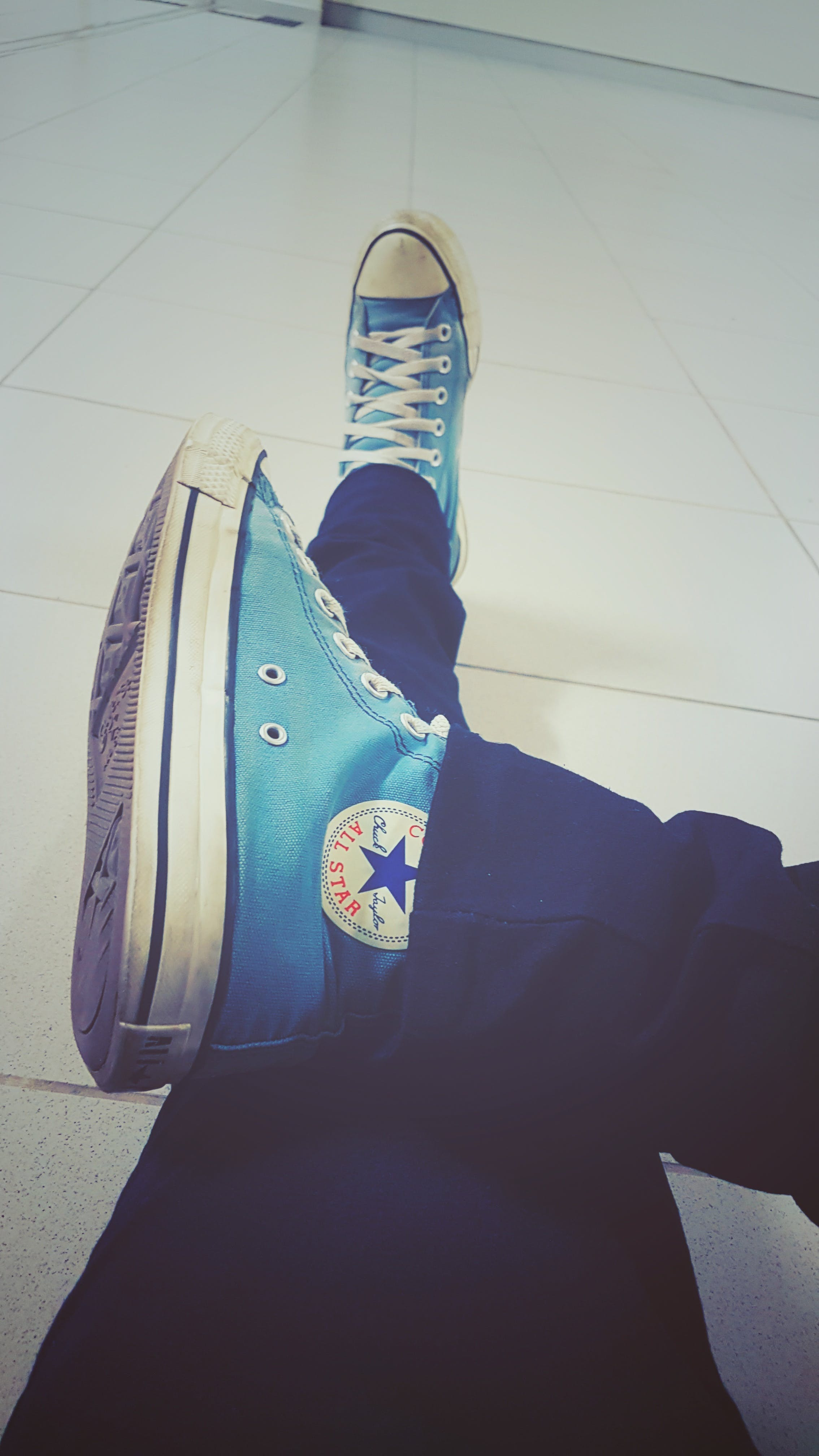 Free stock photo of all star, black shoes, blue, converse