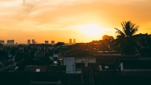 Fotobanka sbezplatnými fotkami na tému domy, krajina, mesto, oranžová