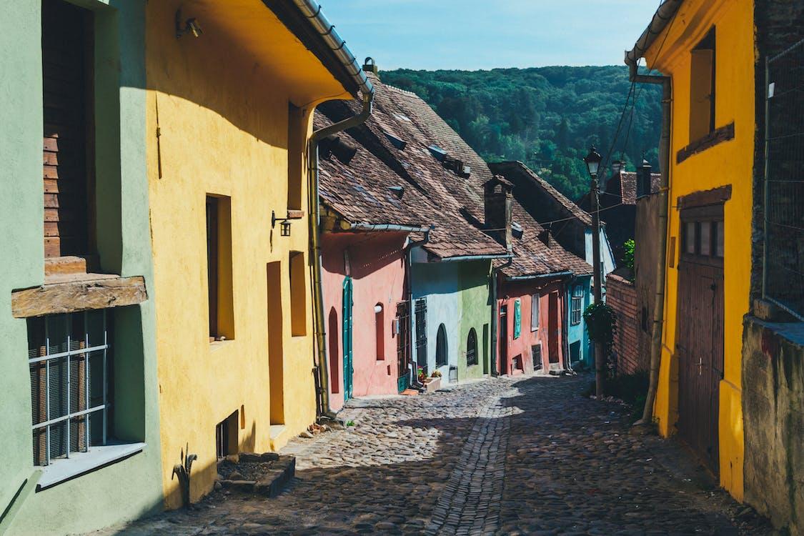 Road Between Assorted-color Concrete Building