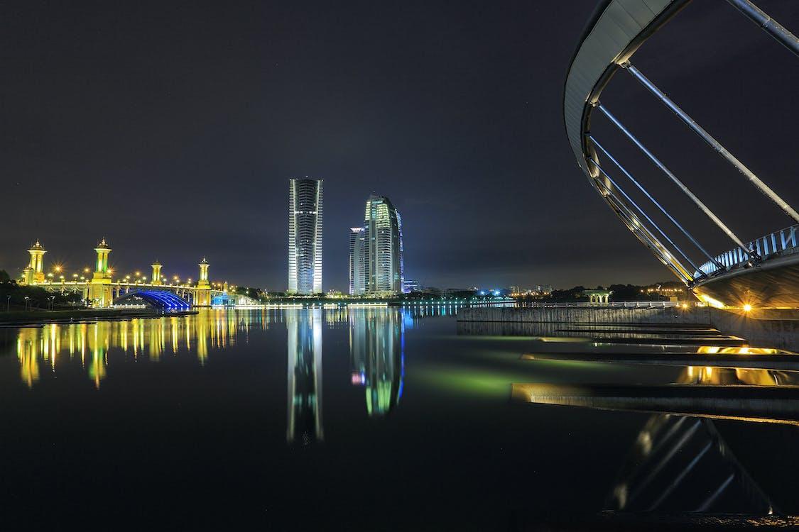 архитектура, вода, горизонт