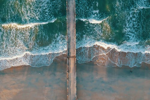 Top View Photo of Sea Waves and Dock