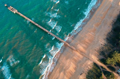 Aerial Photography of Wooden Dock on Sea