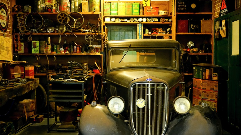 Black Classic Car Inside the Garage