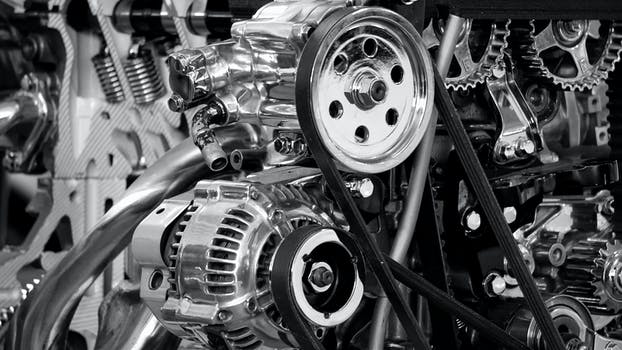 Greyscale Photography of Car Engine