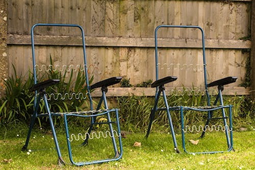 Free stock photo of aesthetics, blue, chairs, garden
