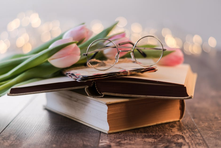 Eyeglasses on a book