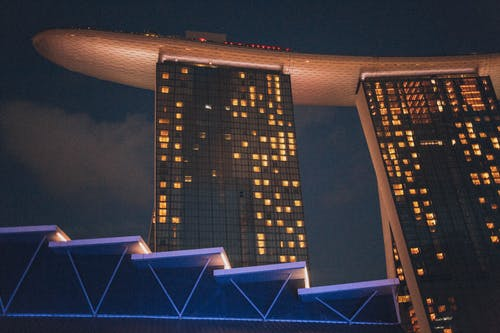 Kostenloses Stock Foto zu architektur, gebäude, marina bay sands, perspektive