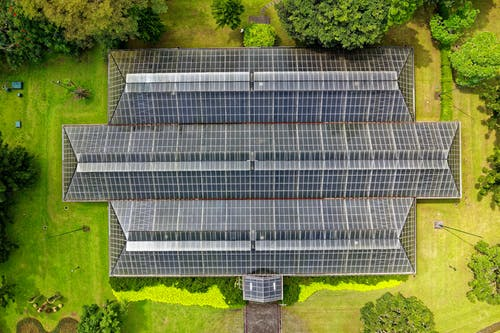 Bird's Eye View of Solar Panel Roof