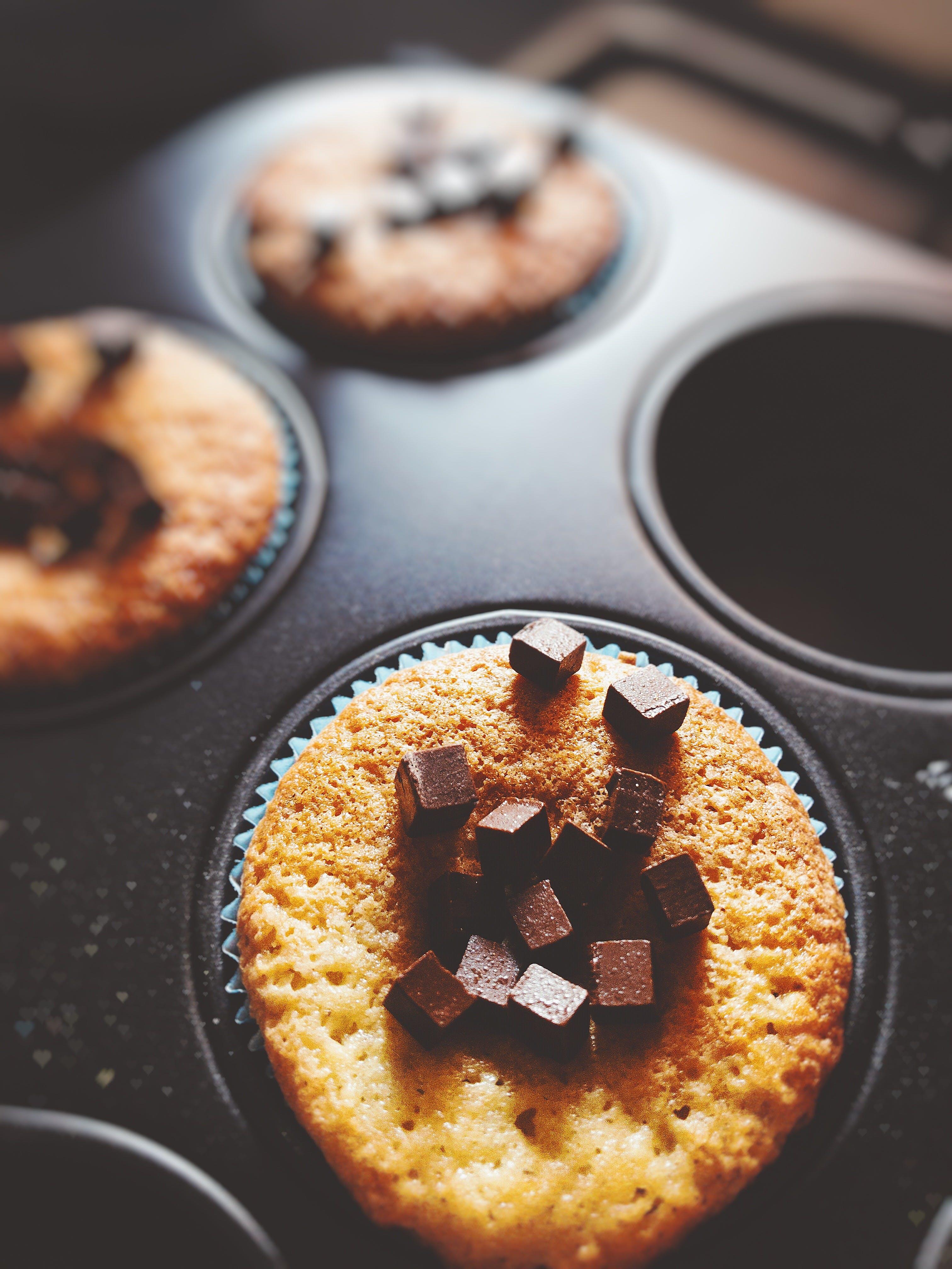 Cupcake With Chocolate Chunks on Top