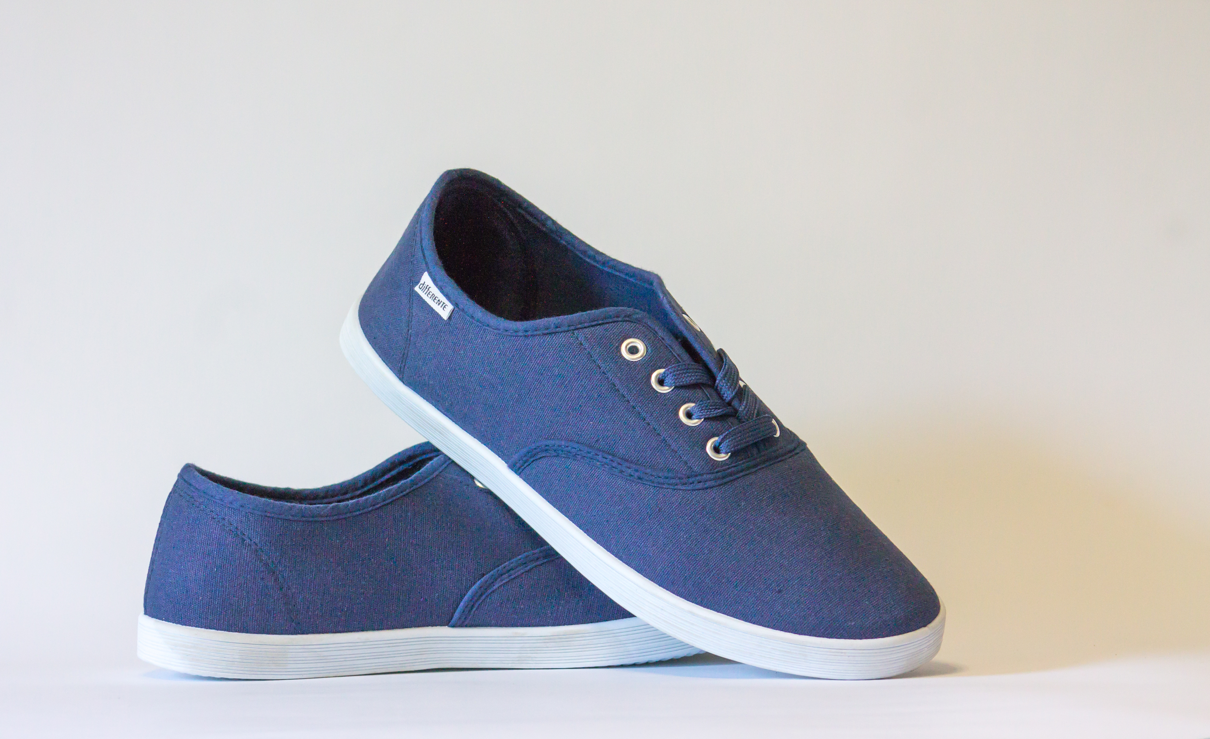 Pair Of Blue Lace Up Sneakers Free