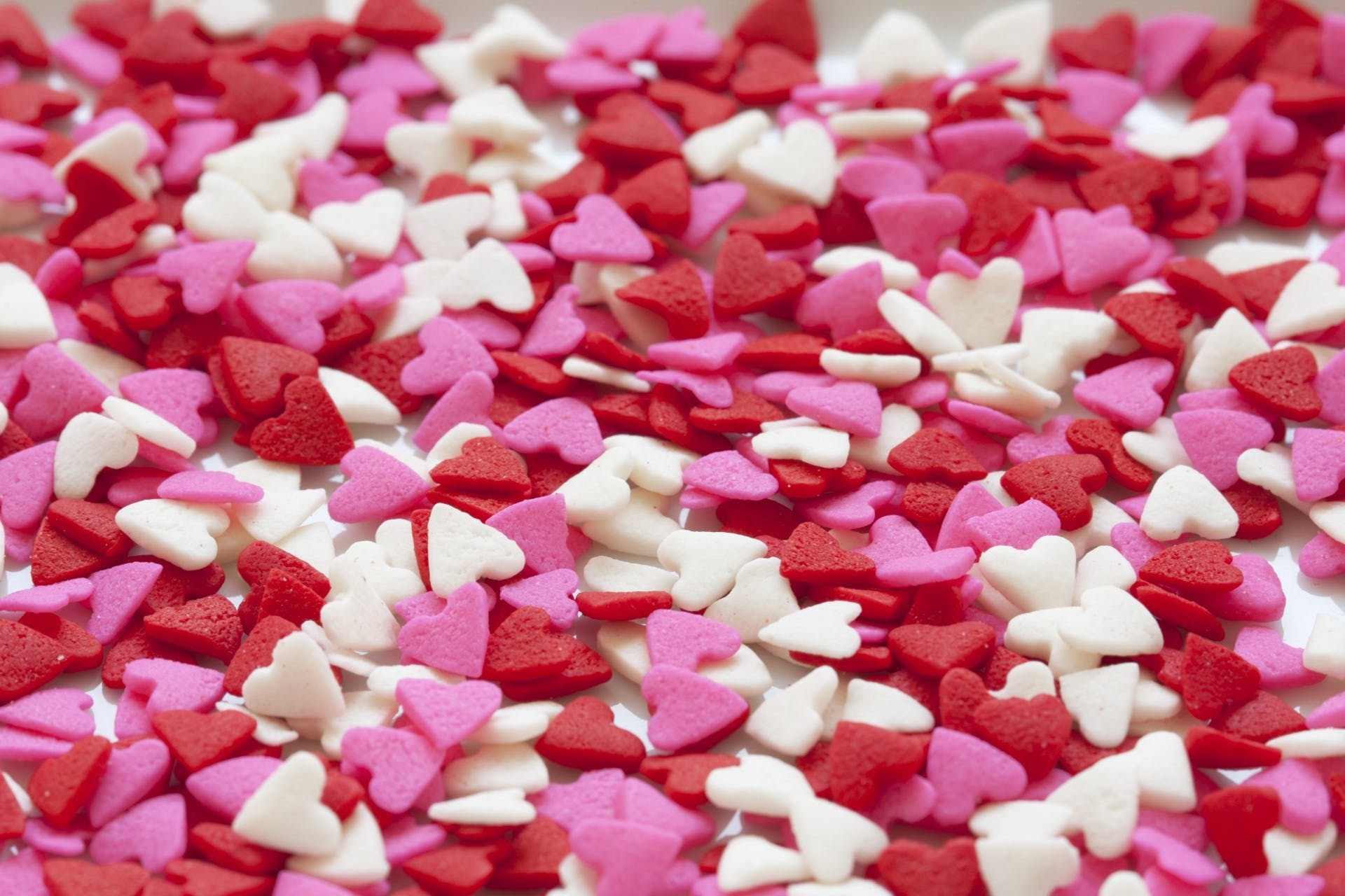Selective Focus of White Red and Pink Hearts Sprinkles