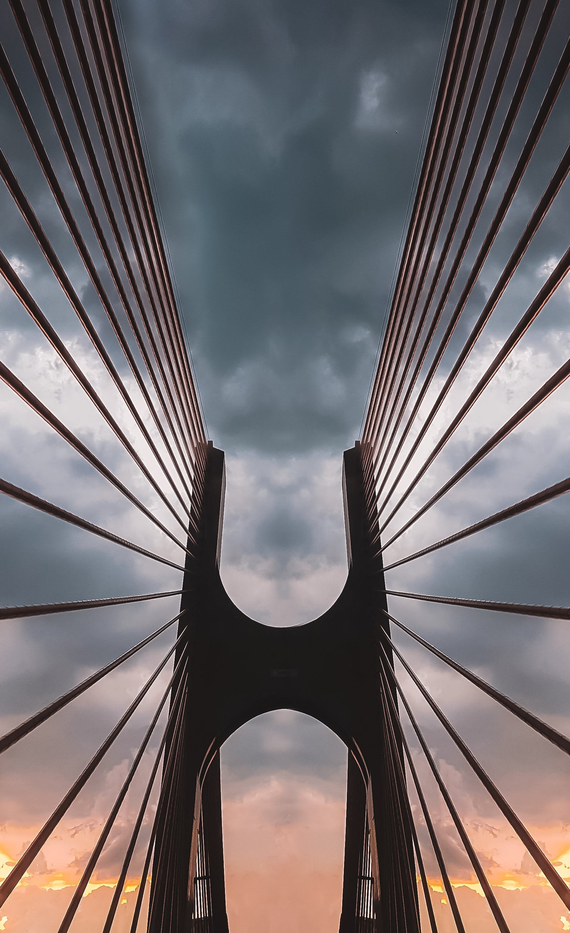 Low Angle Shot of a Suspension Bridge