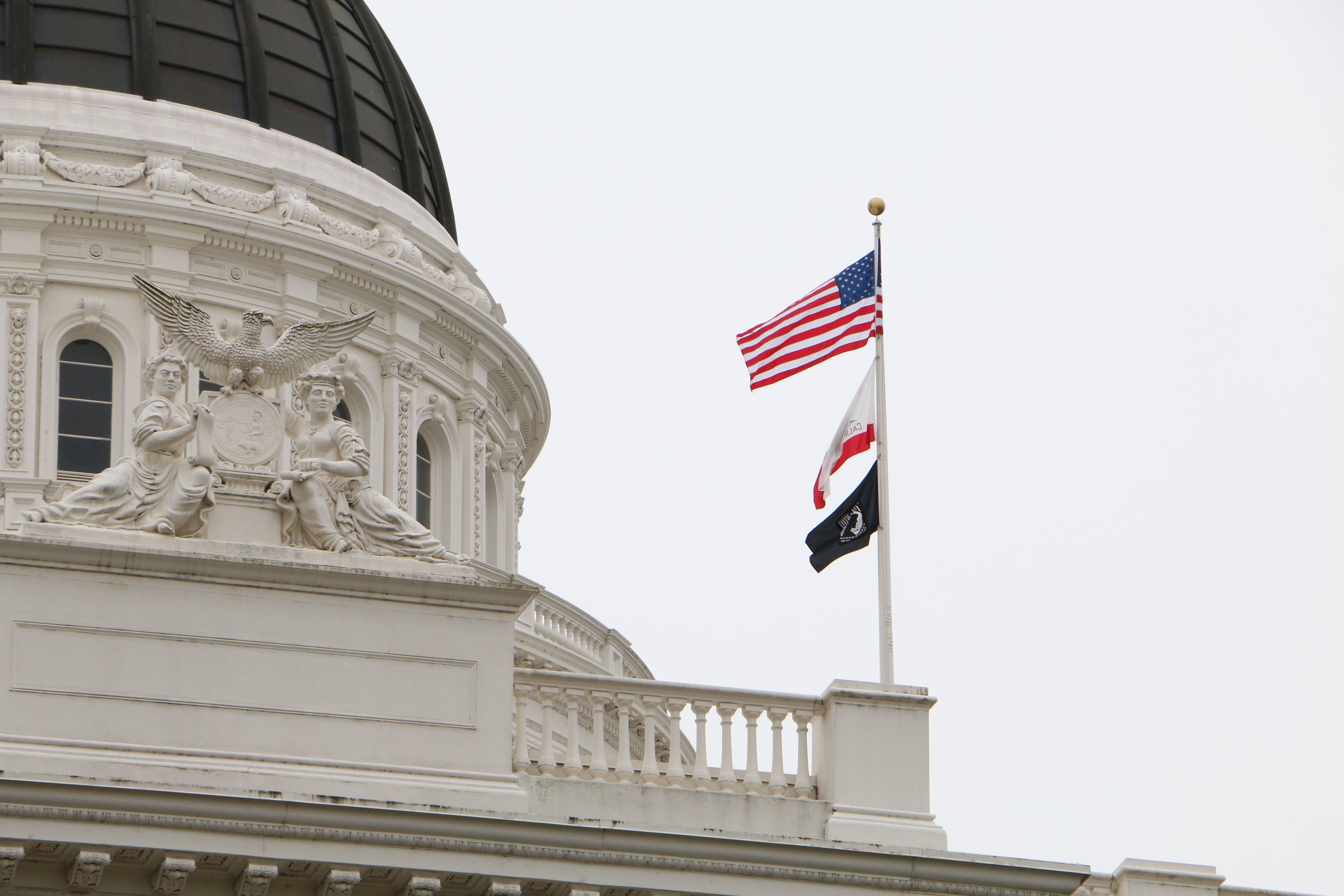 Free stock photo of American flag, building, sacramento