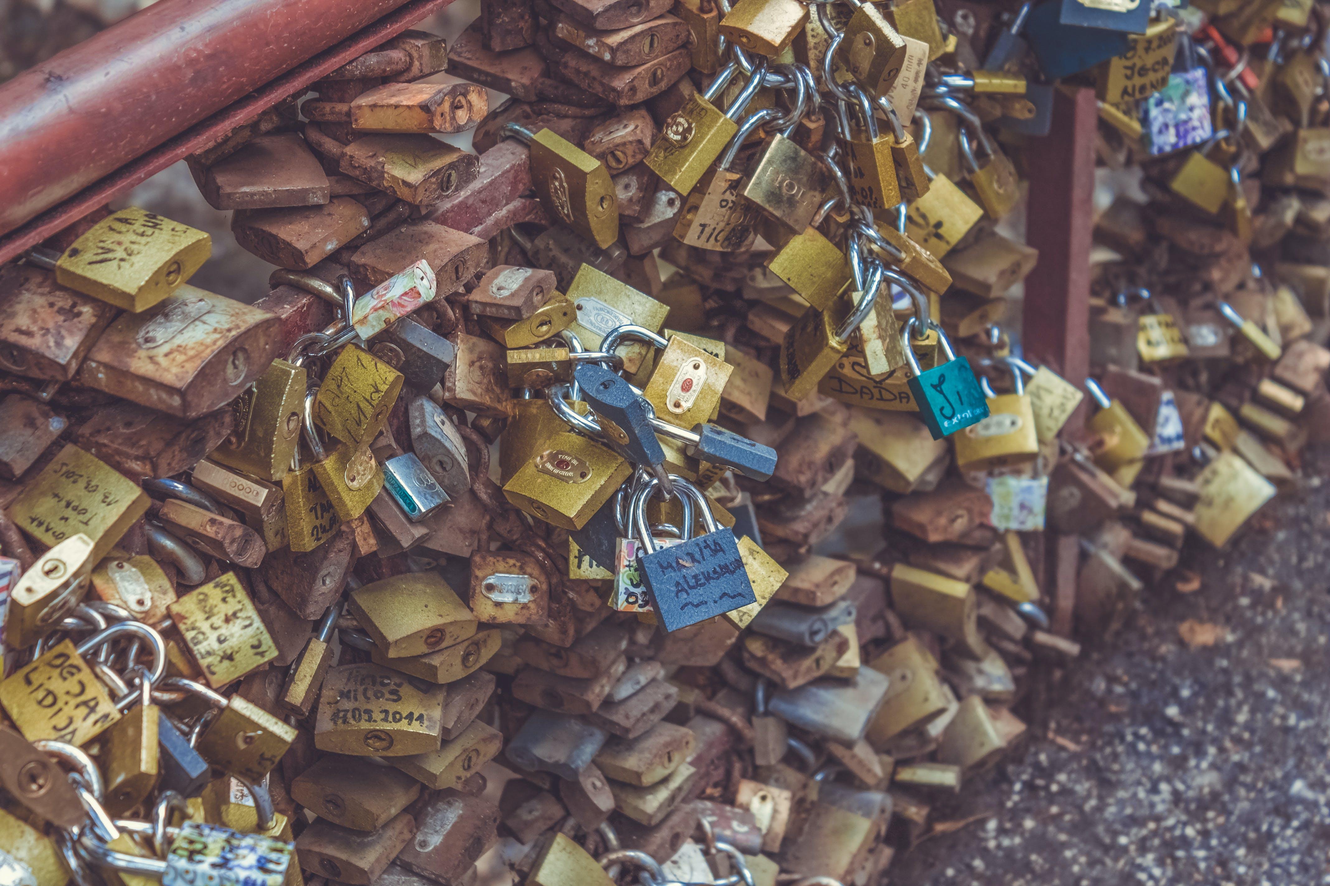 Free stock photo of bridge, grunge, lock, love padlock