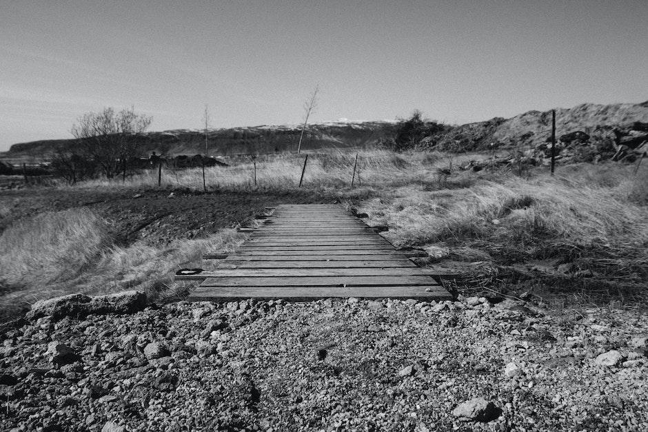 black-and-white, bridge, wooden