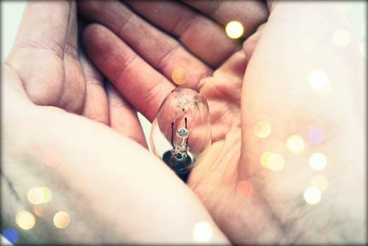 Centered Clear Bulb on Human Hand