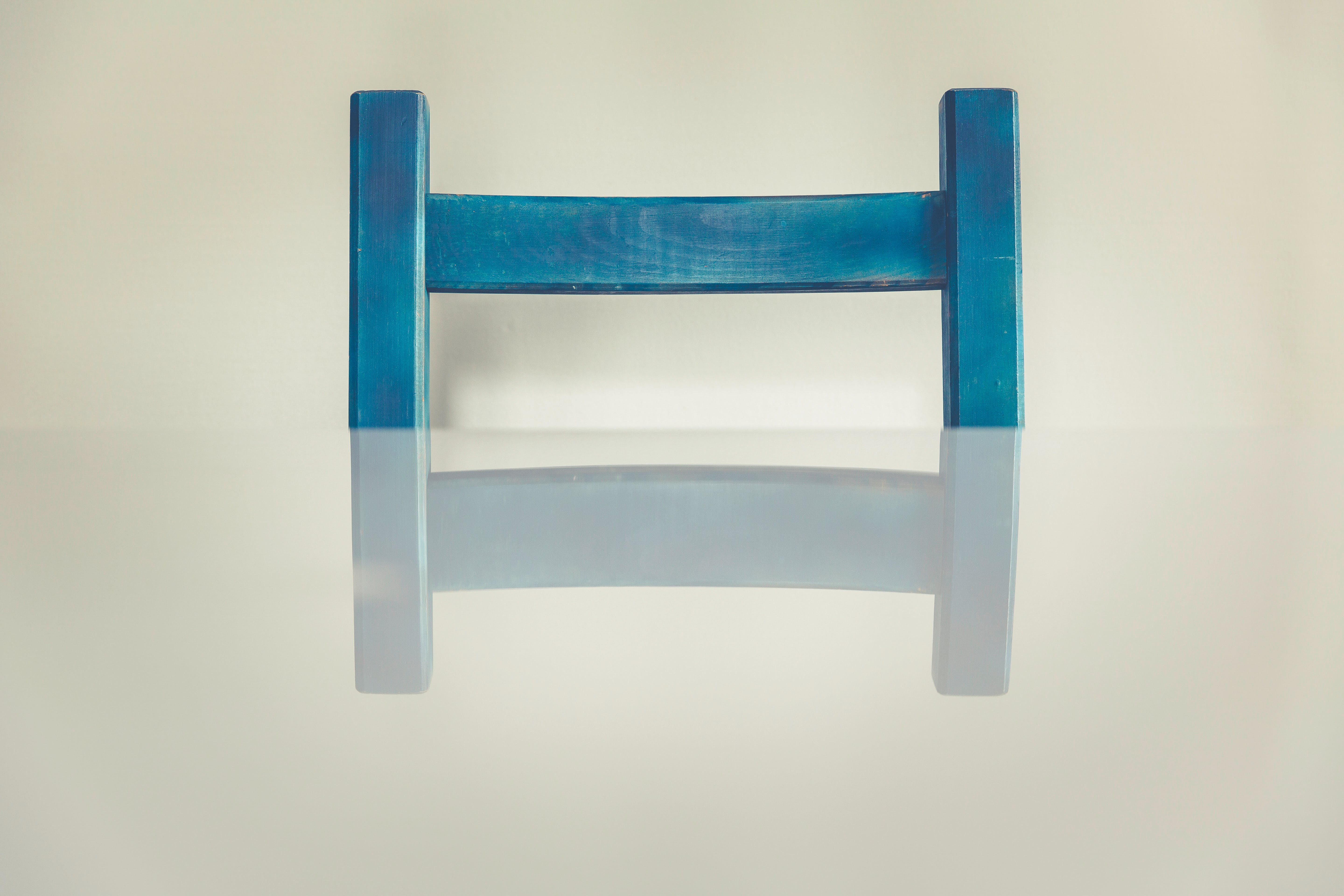 Blue Wooden H Shaped Component