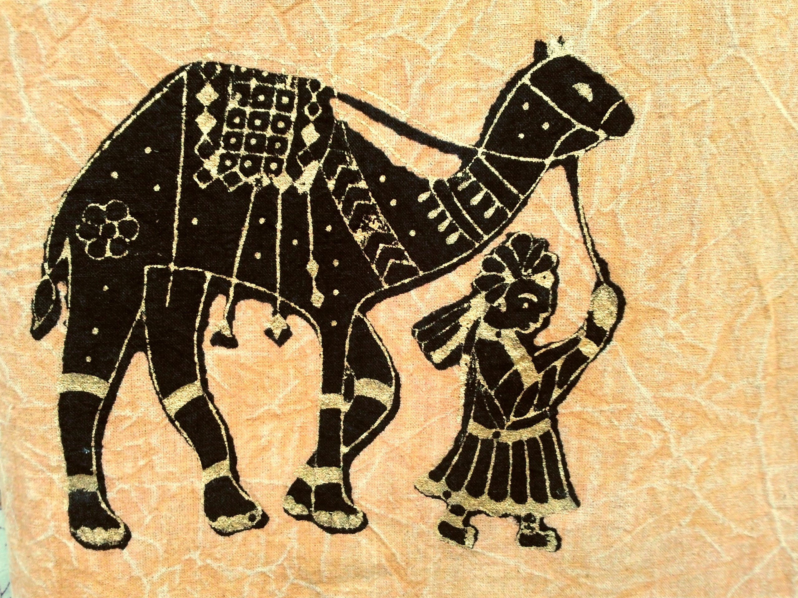 Person Pulling Camel Illustration