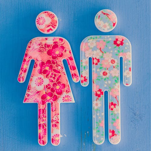 Multicolored Floral Male and Female Icons