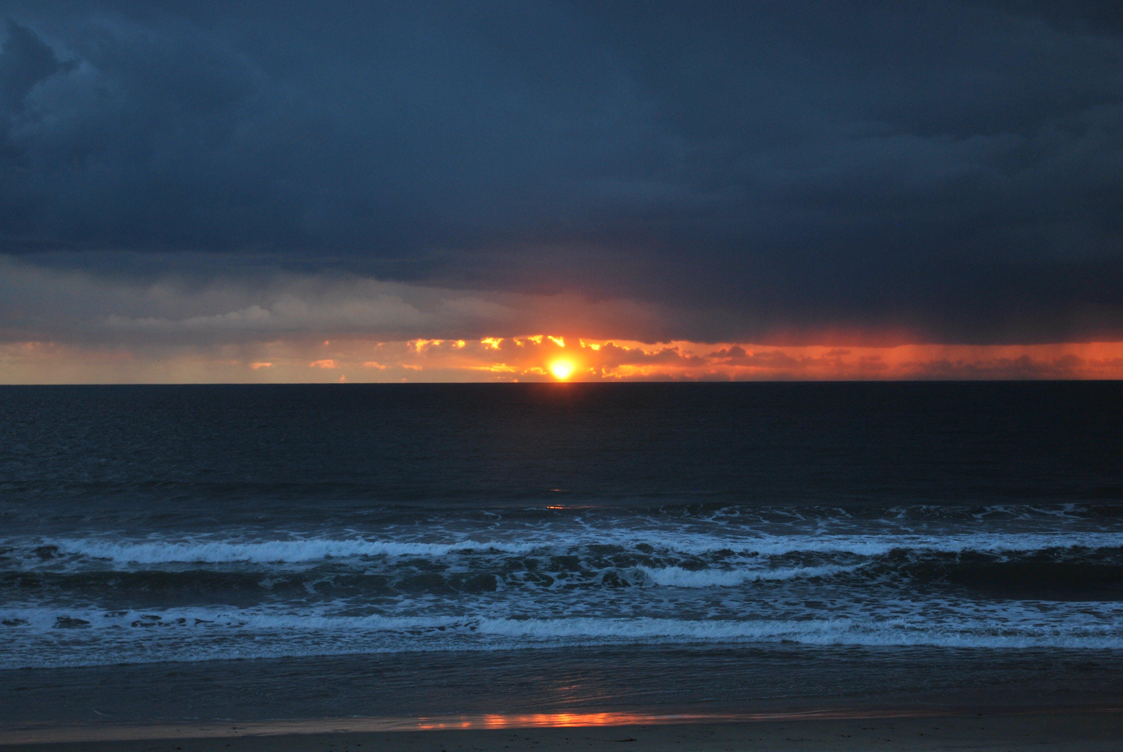 Free stock photo of beach, storm, sunset