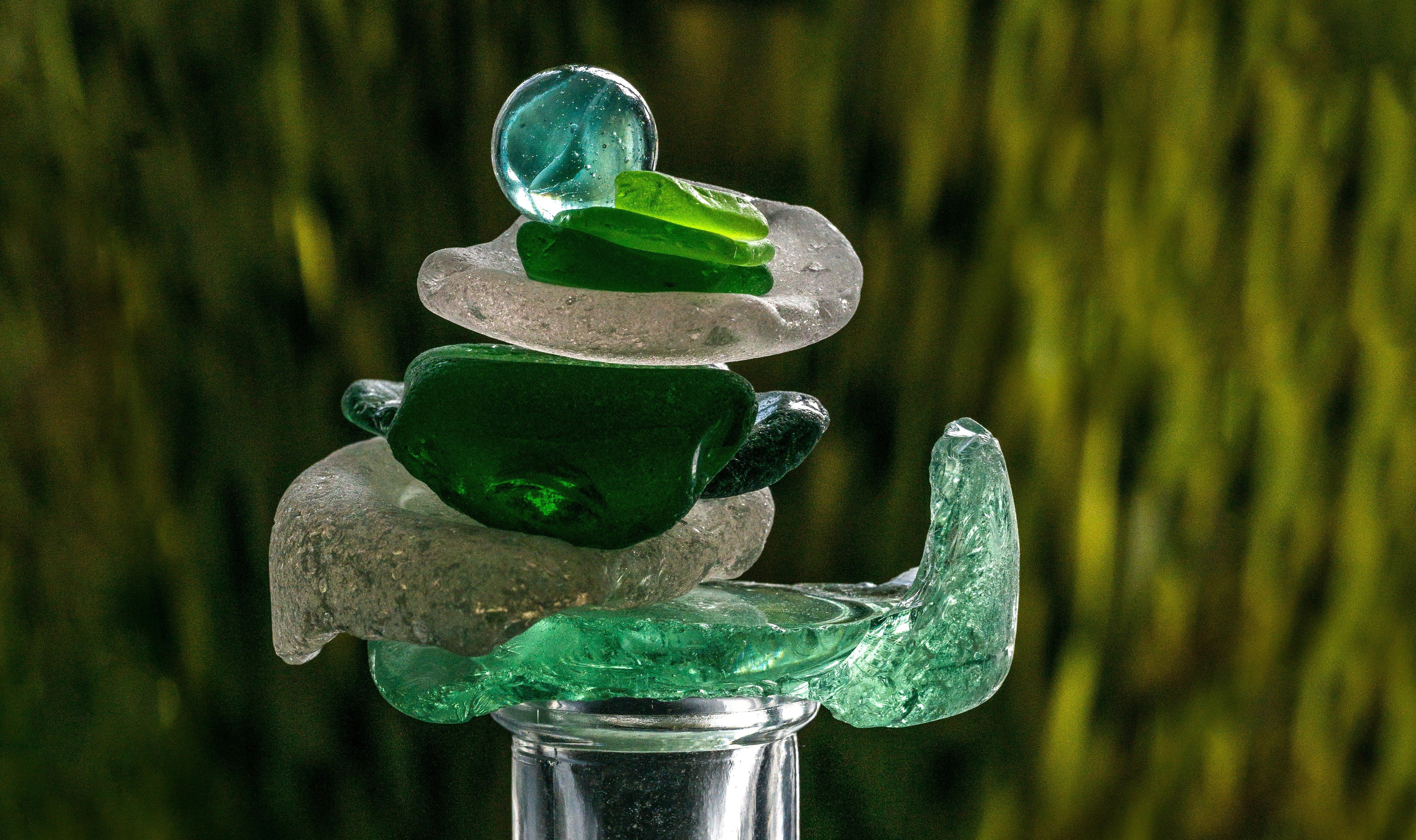 녹색, 더미, 해변 유리의 무료 스톡 사진