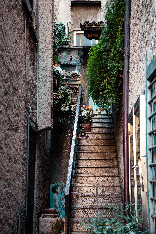 Brown Stairs With Black Metal Railings