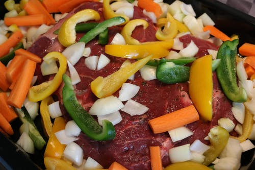 Ingyenes stockfotó élelmiszer, hagymák, hús, paprika témában