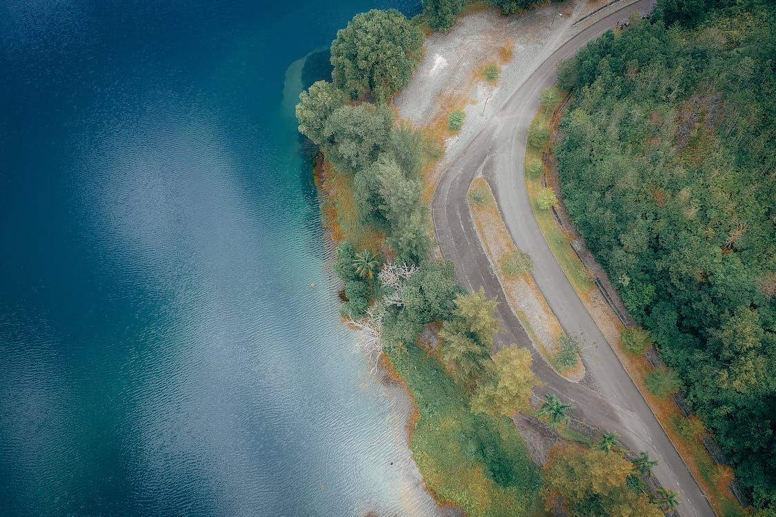 antenne, asfalt, autoweg