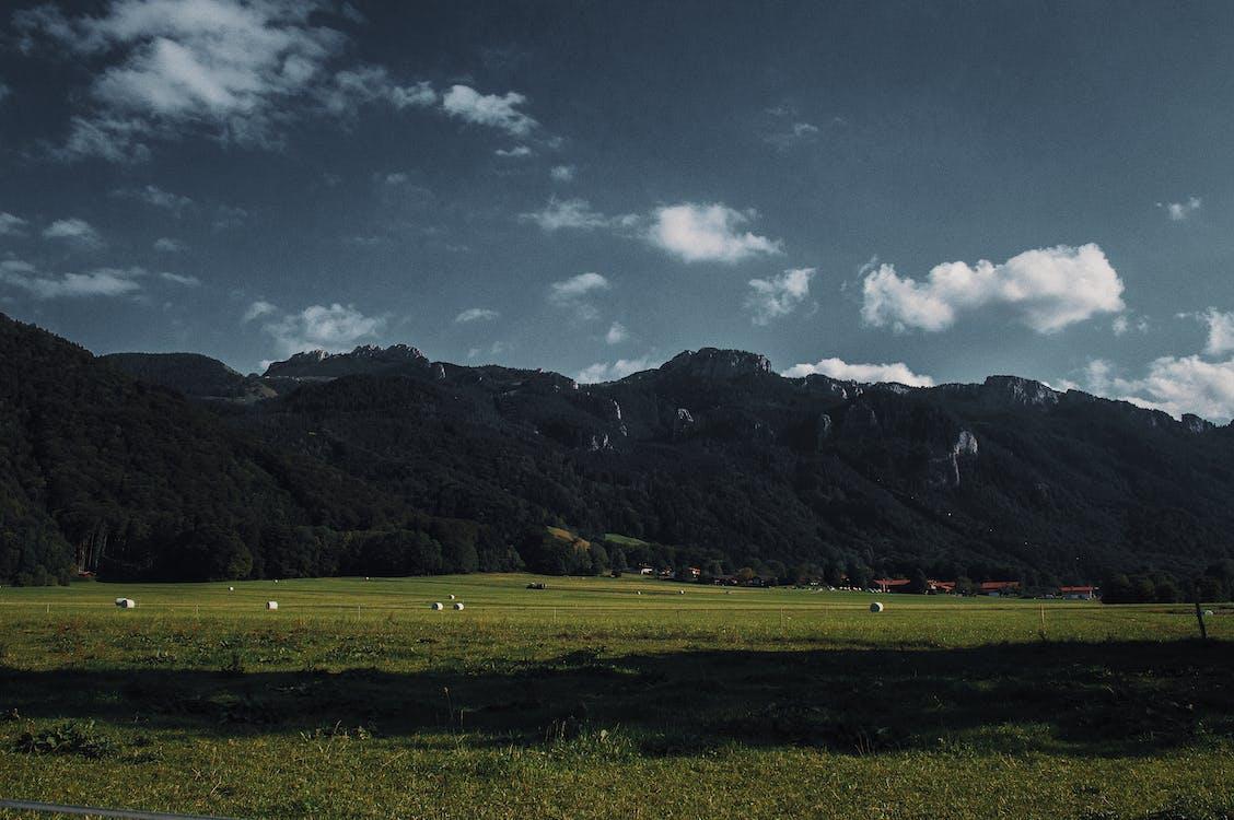 Green Field Near Mountain