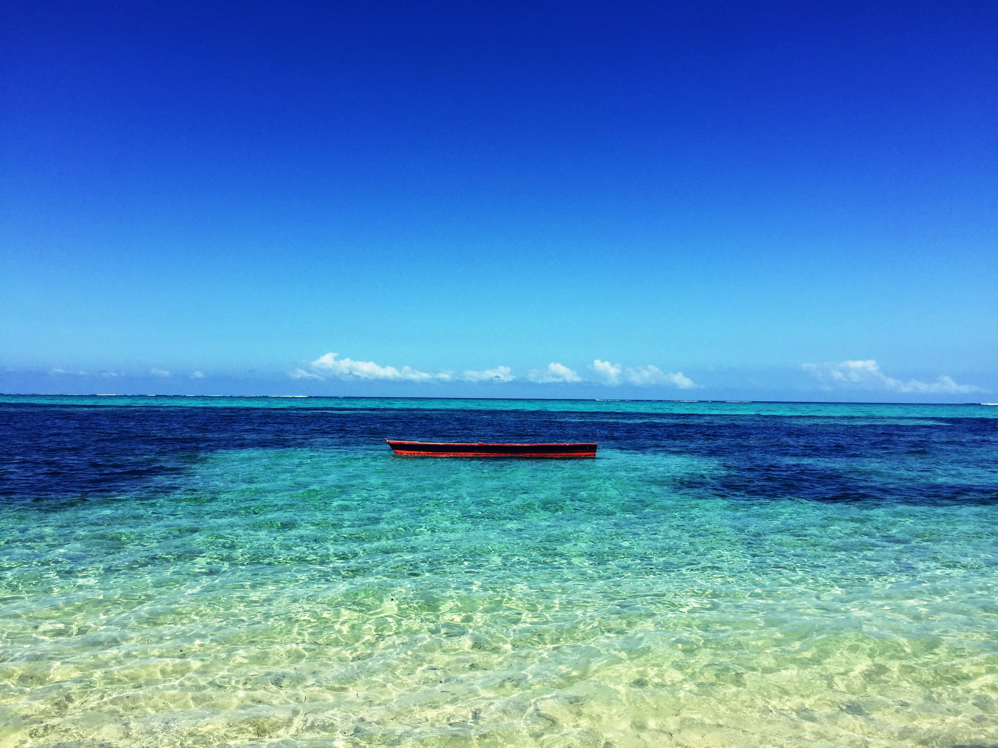 Boat in the Middle of Atoll Photo