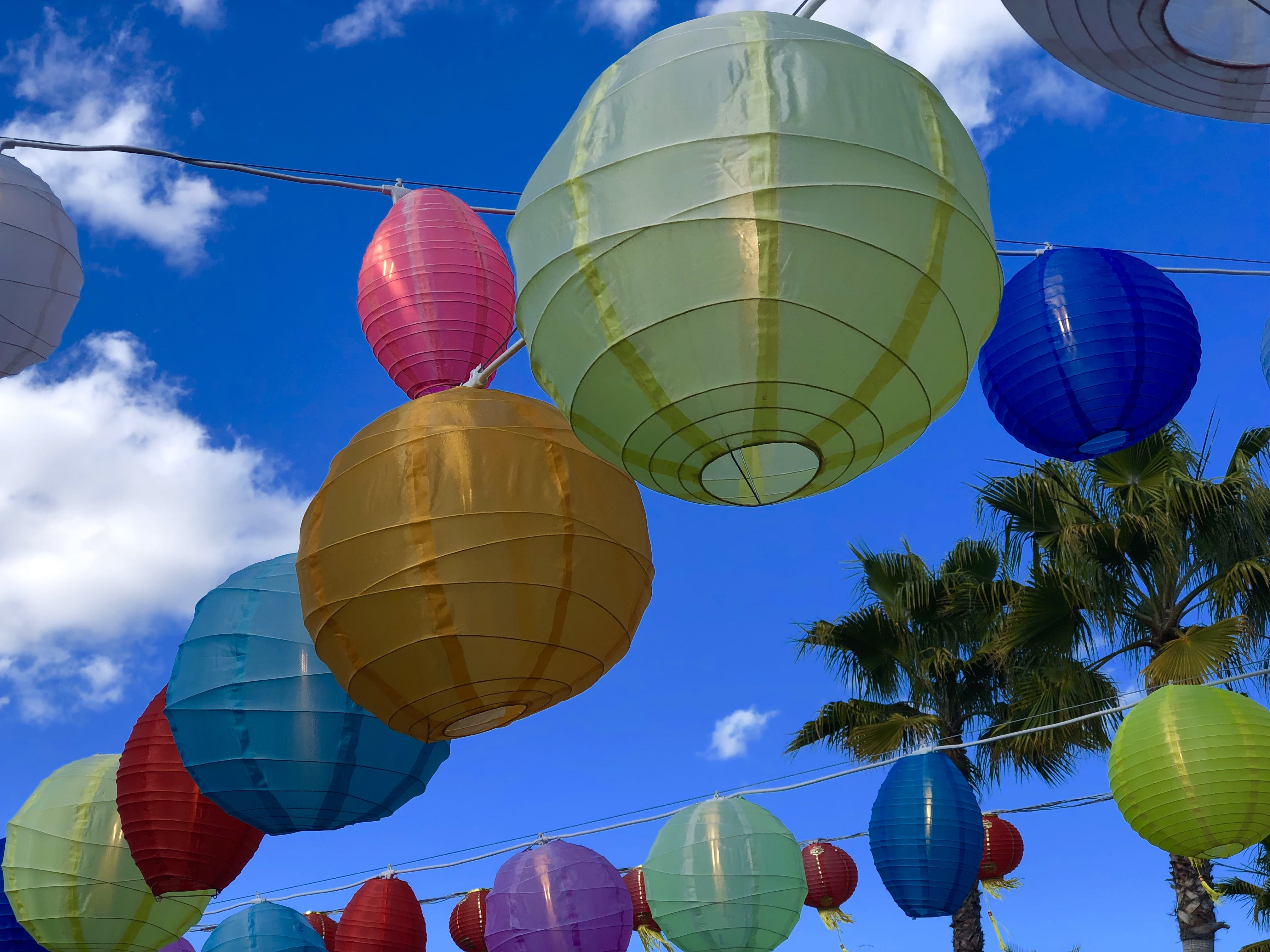 Free stock photo of blue sky, chinese lanterns, clouds, colorful