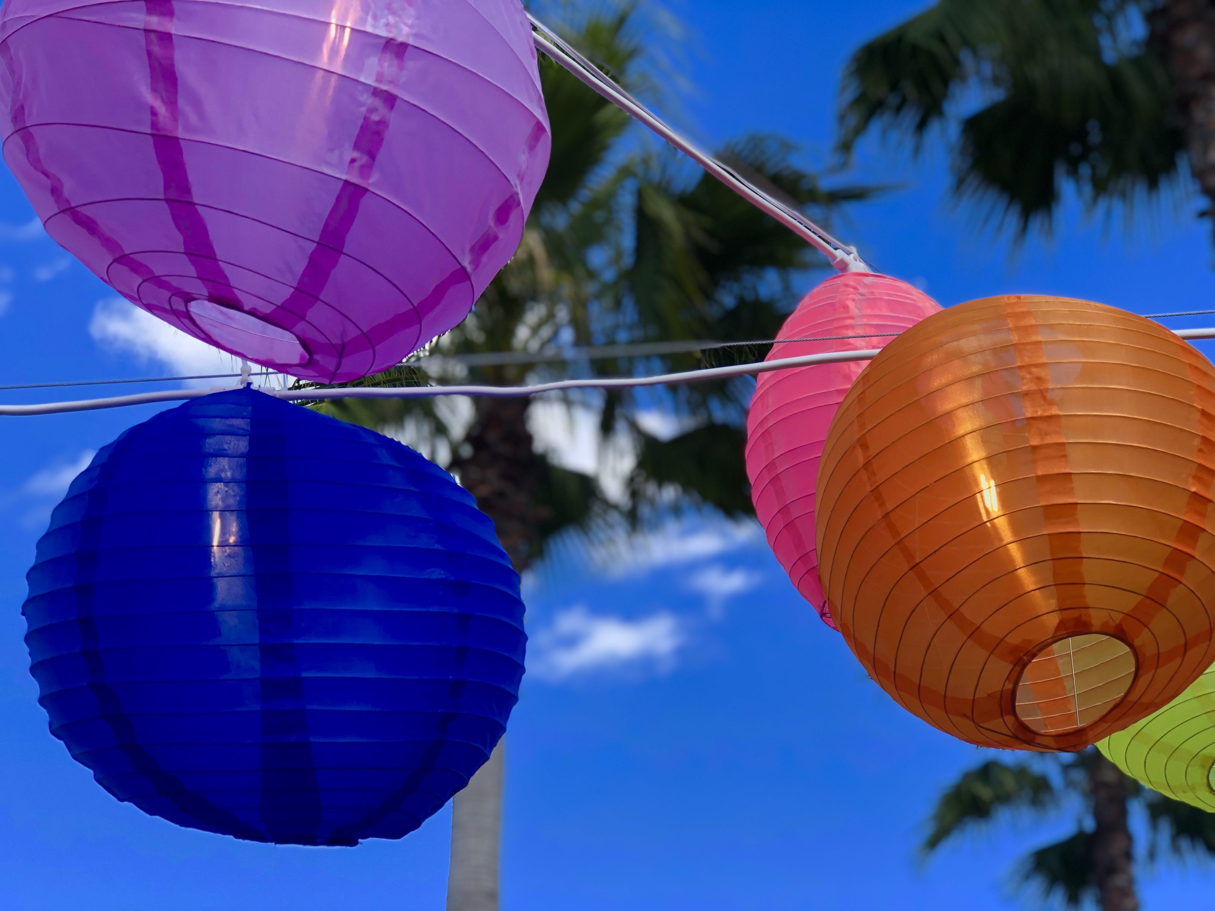 Free stock photo of chinese lanterns, colorful, palm tree, paper lanterns