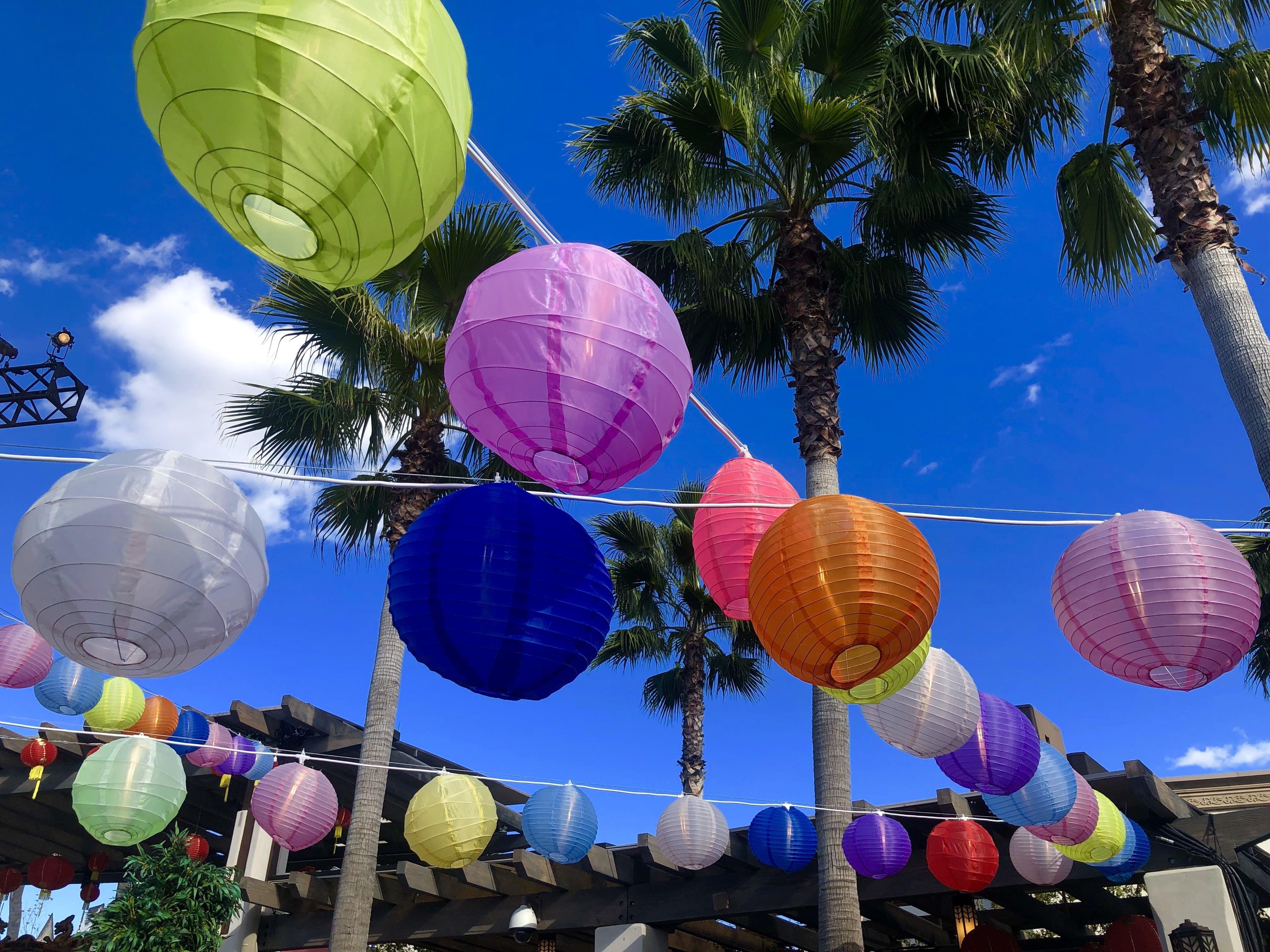 Free stock photo of chinese lanterns, colorful, palm trees, paper lanterns