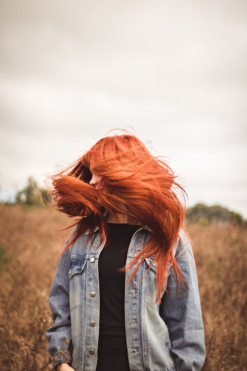 Free stock photo of hair flying, red head