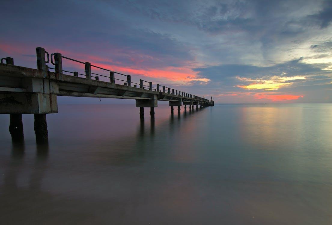 вода, закат, море