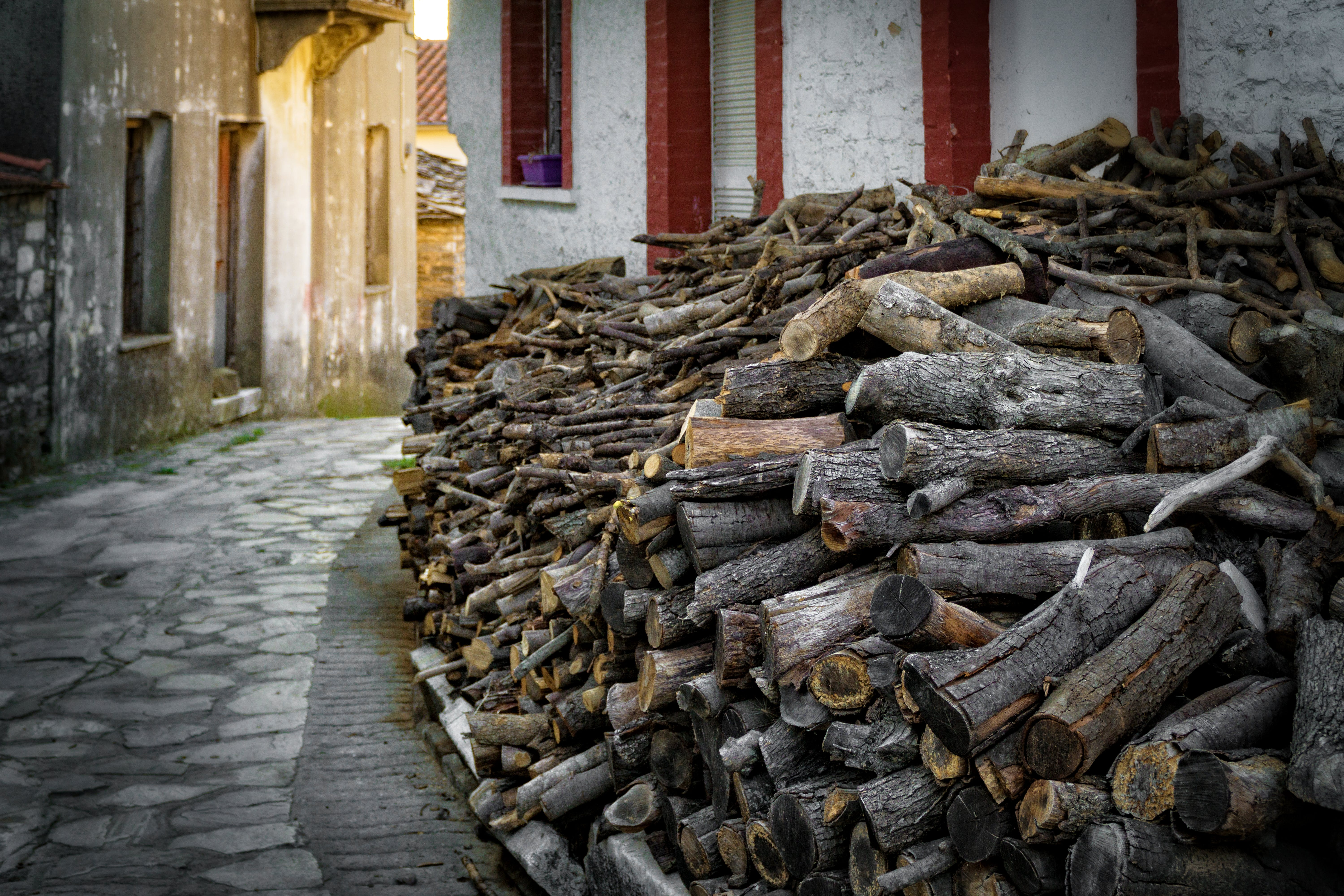 Pile of Firewood Beside Concrete Building and Alleyway