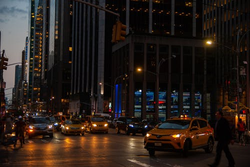 Free stock photo of busy, cab, evening, new york