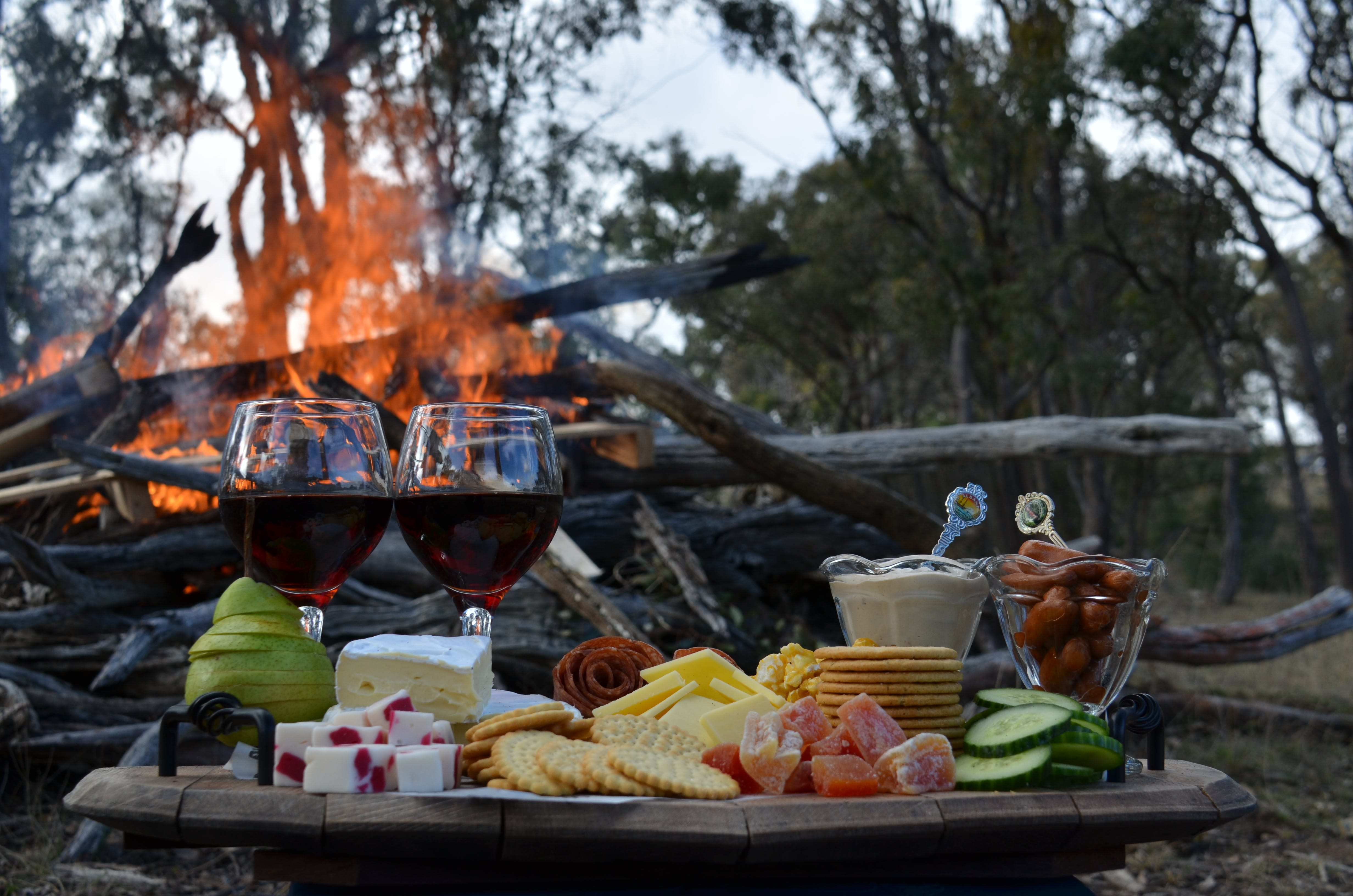 Free stock photo of winter day beside fire with wine and cheese