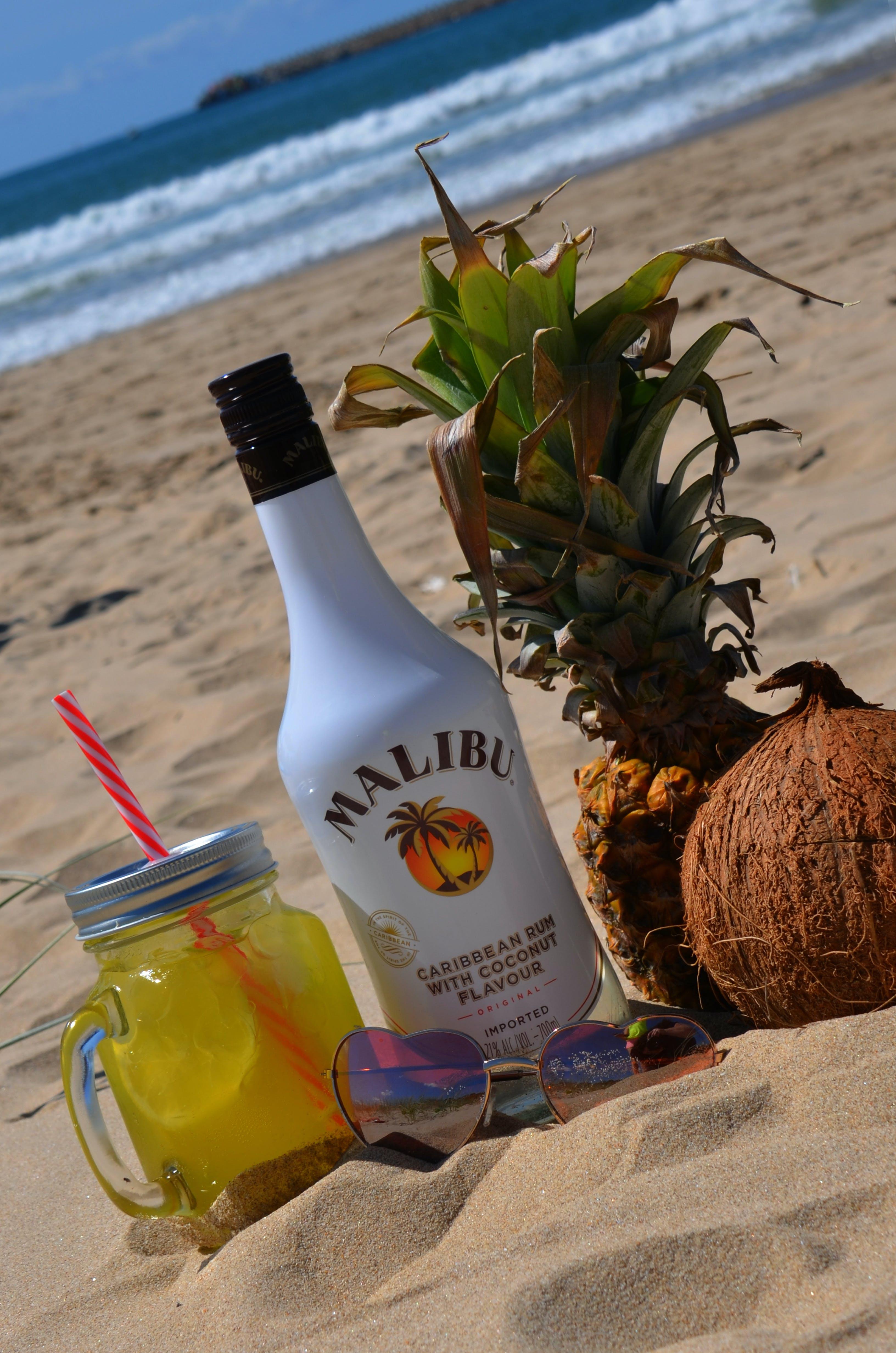 Free stock photo of summer, malibu rum punch on beach