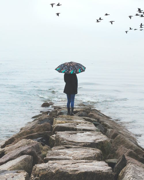 Photo of Person Holding Umbrella Near Body of Water