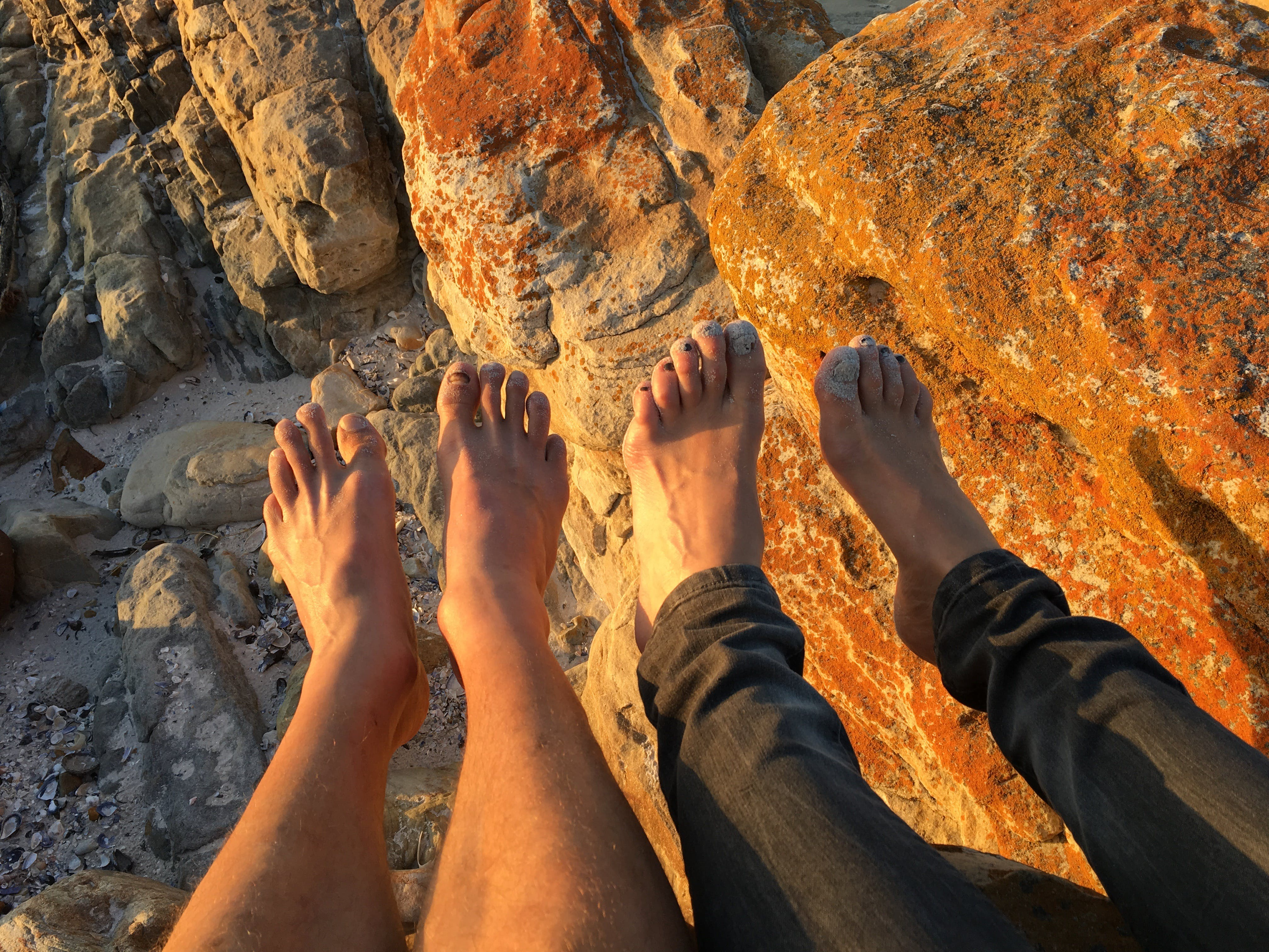 Free stock photo of beach, feet, red rocks, south africa