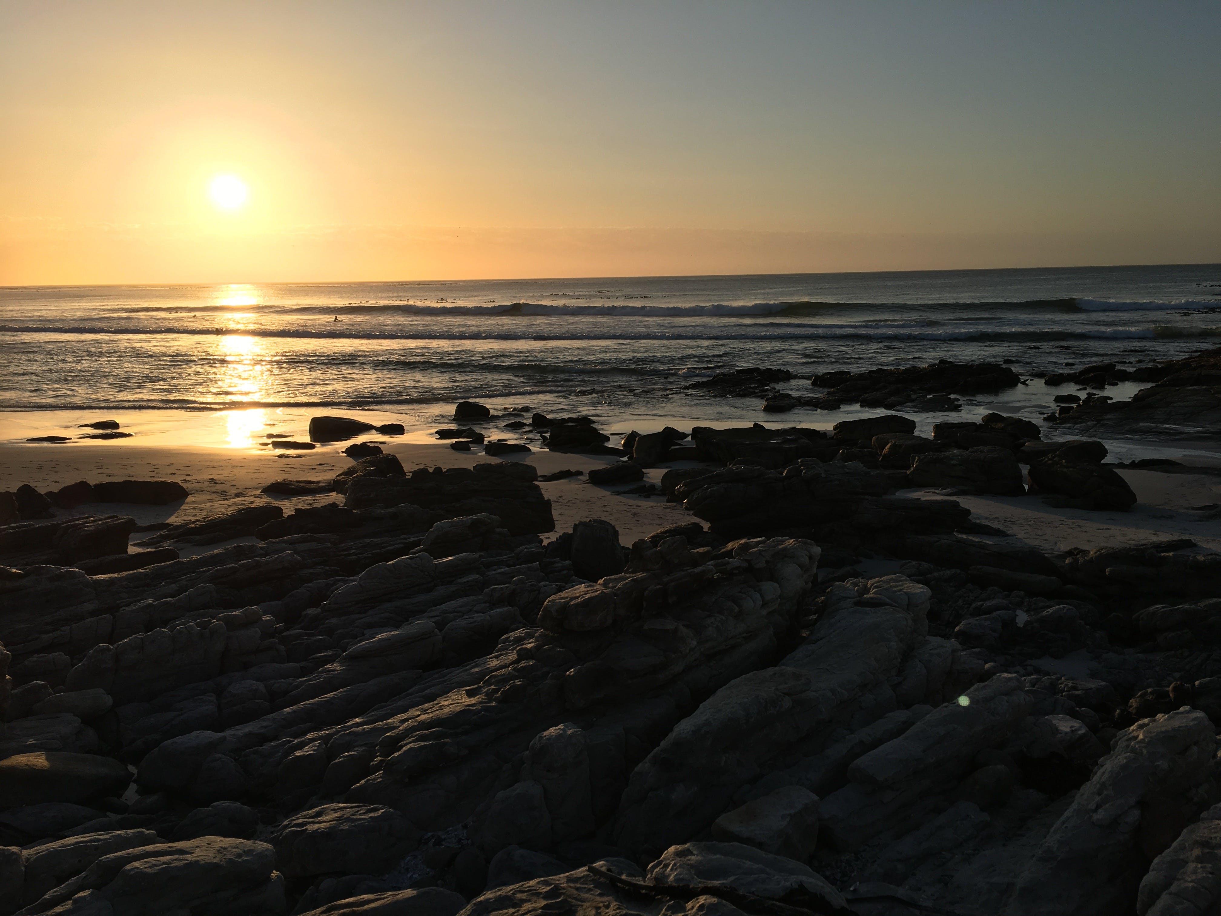 Free stock photo of beach, golden sunset, rocks, south africa