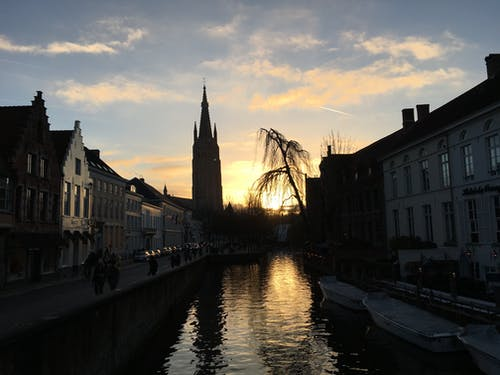 Free stock photo of Belgium, bruges, canal, sunset