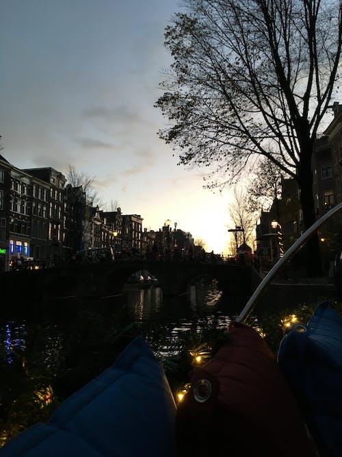 Foto stok gratis amsterdam, Belanda, kapal, matahari terbenam