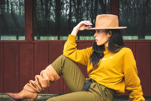 Woman in Yellow Sweater Sitting and Posing