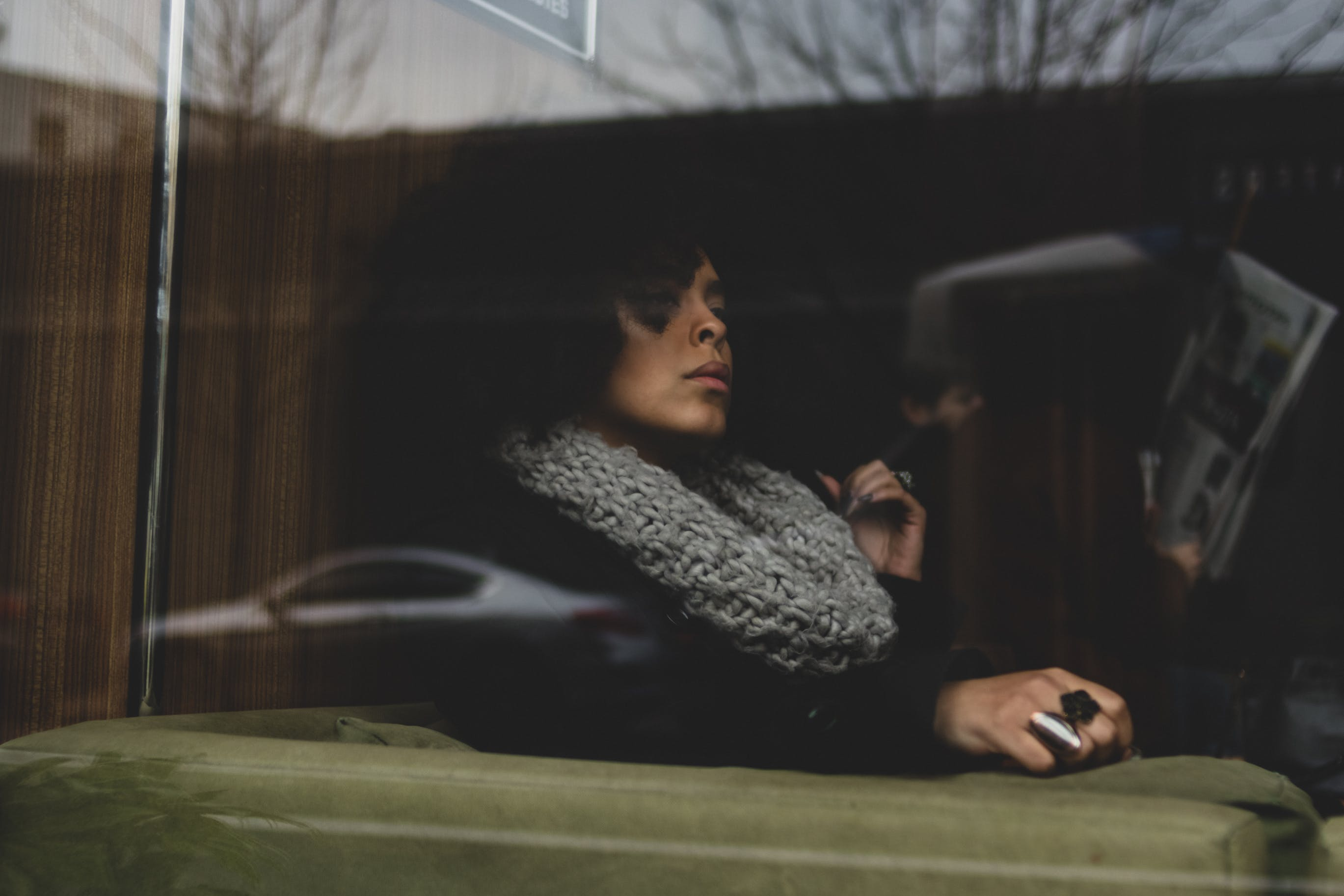 Woman Wearing Knit Scarf