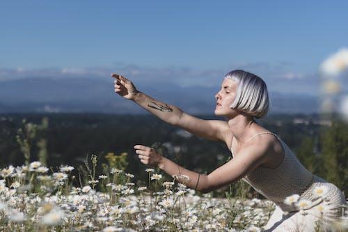 Photos gratuites de champ de fleurs, cheveux courts, coiffure, délicat